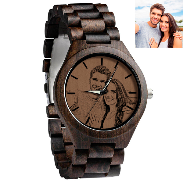 Personalized Photo Ebony All wooden watch